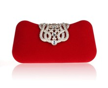 2015 High quality Velvet Crystal crown Clutch Evening Bag Purse Ladies Prom Wedding Party #FXB1829