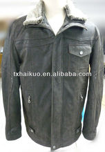 2013 new fashion men's Grains of sand leather jacket with fur collar