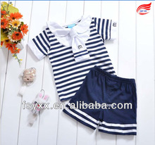 2pcs cotton blue stripe navy childs clothing set