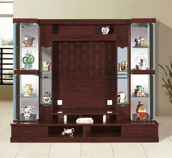 Antique tv unit lcd tv unit design wood tv wall units for Wall hanging showcase designs