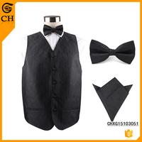 Fashion Mens Black Suit Denim Vest set