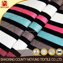 100%Polyester linen look fabric with stripe flocking