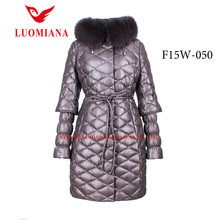 2015 latest ladies leather coats with fur hood