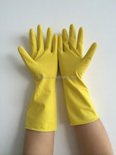 Popular Yellow Flocked Latex Household Glove