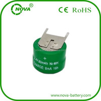 nimh button cell 2.4v 80mah rechargeable battery pack