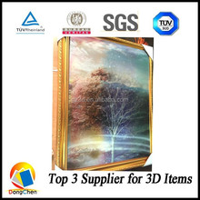High definition gold framed 3D lenticular picture for wall hanging