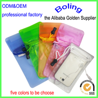 High quality pvc waterproof cell phone bag with earphone jack