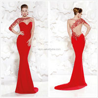 Sexy One Long Sleeve Mermaid Red Beaded Evening Dress