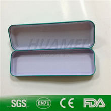 embossed rectangle aluminium pencil tin case with hinge