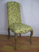 Green Linen Flower Embroidered Nail Studded French Louis Chair