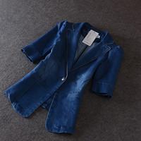 European fashion denim women plus size clothes short sleeve denim suit jacket