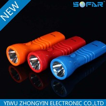 Rechargeable LED flashlight with 1 white led light at working 220v with round pin plug