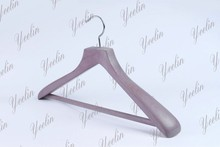 New Style Fashion Clothes Ash Wood Hanger With Velvet Covered Cross Bar