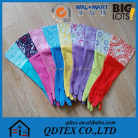 Household Kitchen Washing Cleaning Thick Velvet Long Rubber Gloves