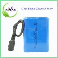 China 18650 2200mAh 12 volt lithium ion battery manufacturer