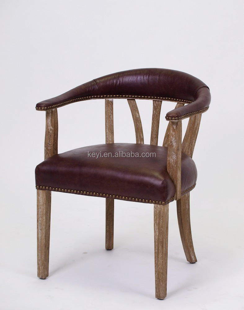 Antique wooden leather arm dining chair restaurant