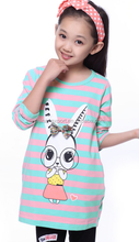 ttt2200 2015 wholesale fashion spring autumn hot sale new cotton stripes rabbit printed girls long sleeve T-shirt 4-16 years