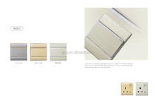 3 gang 1 way Luxury Brushed wall switch antique gold color