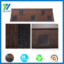 Stone coated coffee brown light weight thermal insulation roof tile