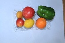 High quality Disposable PET clear plastic hinged clamshell fruit food packaging containers