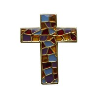 Custom, unique making metal stained glass puzzle cross lapel pin badges