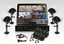 Security system,4 waterproof IR cameras 600TVL,10inch LCD D1 dvr,h.264 4ch dvr combo digital video recorder hard drive