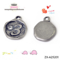 wholesale silver rhinestone Smooth digital dangles slide charms Fashion Jewelry Pendant ZX-A25201