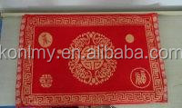 KLM-309 china style red and golden wedding towel gift, non cut pile cotton towel fabric