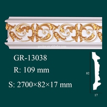 High Density Fireproof Matrials Polyurethane Foam Cornice Moulding for Ceiling Design