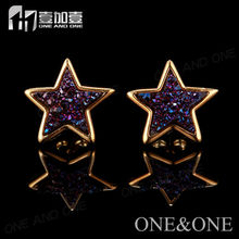 Cheap Wholesale Stud Inspired Earring Natural Druzy Drusy Amethyst Agate gems Earrings China Top Selling Products