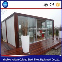 Custom 20ft prefab shipping container wooden house for sale luxury container home