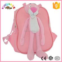 2015 Custom Cheap Animal Toy Plush School Bag Pink Panther
