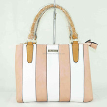 Small size white and pink stripe hand bags for women trend style leather bags 2015