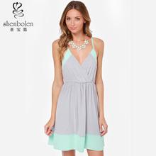 M3152 últimas color combinaciones de vestidos linda del estilo fresco manzana verde casual vestido para beach party