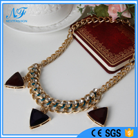 Fashion Jewelry gold/silver metal & oxbood & transparent & black threads braided Statement Collar Necklace