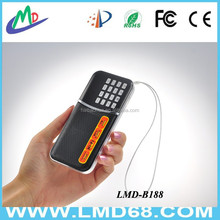 dual band rechargeable portable mini pocket digital AM FM radio with USB port TF card slot L-B188AM