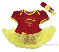 Super Hero World Cup Spain Red Bodysuit Yellow Girl Baby Dress Skirt NB-18Month