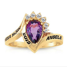 Gold plated female college graduation rings