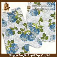 Good Quality Blue Flower Printed Cheap Cotton Oven Glove And Pot Holder
