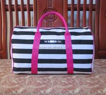 Black And White Stripes Travelling Bag Canvas Shoulder Bag Outdoors Sports Travel Bag