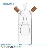 Sanzo Clear Wholesale Handmade Borosilicate Oil Glass Bottle with Cork