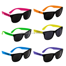 Custom logo promotional neon wayfarer sunglasses