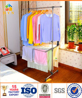 BYN single pole telescopic clothes rack with double shelf DQ-0823 SZ