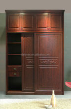 Poinsettia wardrobe cabinet MDF carved molded sliding doors and vertical hinged door