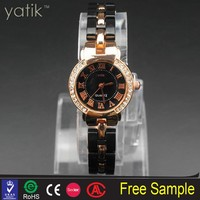 Luxury Vogue Women Fake Diamond black watch crystal beads wholesale nice chinese sexy girl wristwatch