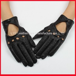 China wholesale black leather dressing unlined motorcycle driving gloves