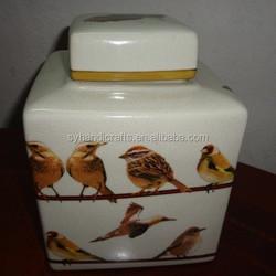 Manufacturer Fashion Design Ceramic Candy Jar, Delicate jar hand paint with bird