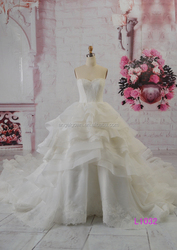 L1032 ruffle skirt emperial style with lace 2016 fashion style wedding dress