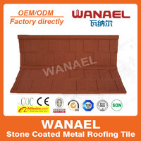 Wanael Shingle 1340x420mm red galvalume house roofing tile/sheet metal roofing sale