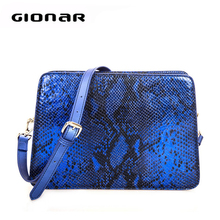 Noble snake woman clutch bag royal blue genuine leather clutch bag